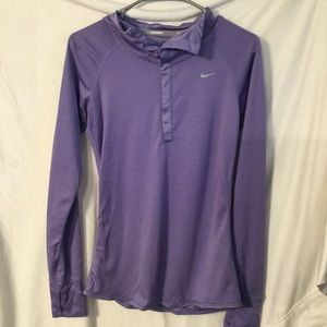 NIKE Purple Quarter Snap Button Pullover Medium